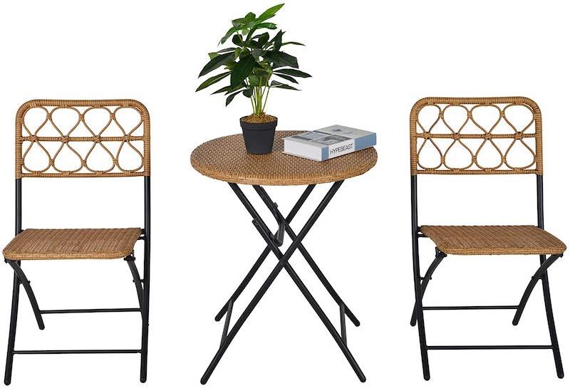 Mesa y sillas plegables pequeñas de ratán