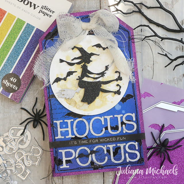 Hocus Pocus Halloween Tag by Juliana Michaels featuring Scrapbook.com Glitter Paper Pads and Typewriter Alphabet Dies