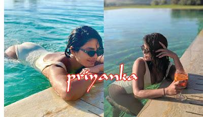 पुल में उतरीं प्रियंका चोपड़ा ने बिकिनी पहन बढ़ाया सोशल मीडिया का तापमान | priynaka chopda in bikni
