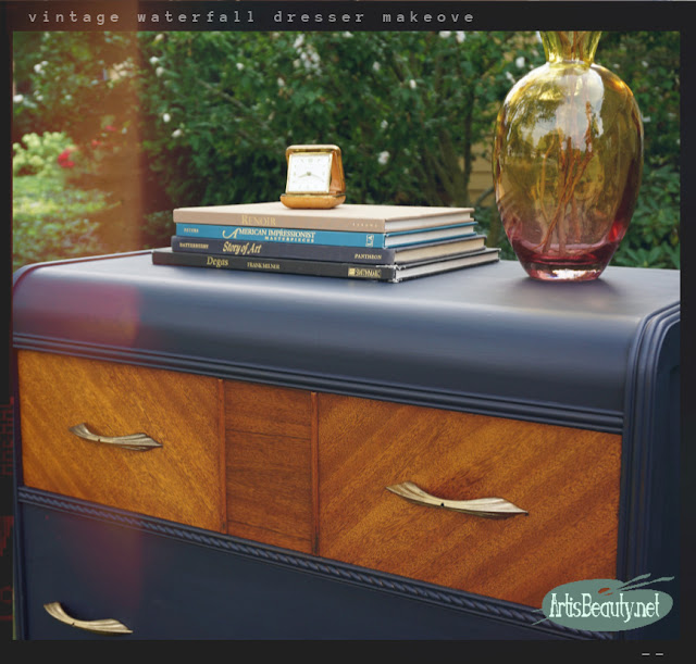 Vintage Waterfall Chest of Drawers painted makeover using General Finishes Milk paint in Coastal blue with gold hardware
