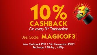 Mobikwik MAGICOF3 - 10% Cashback on every 3rd recharge!