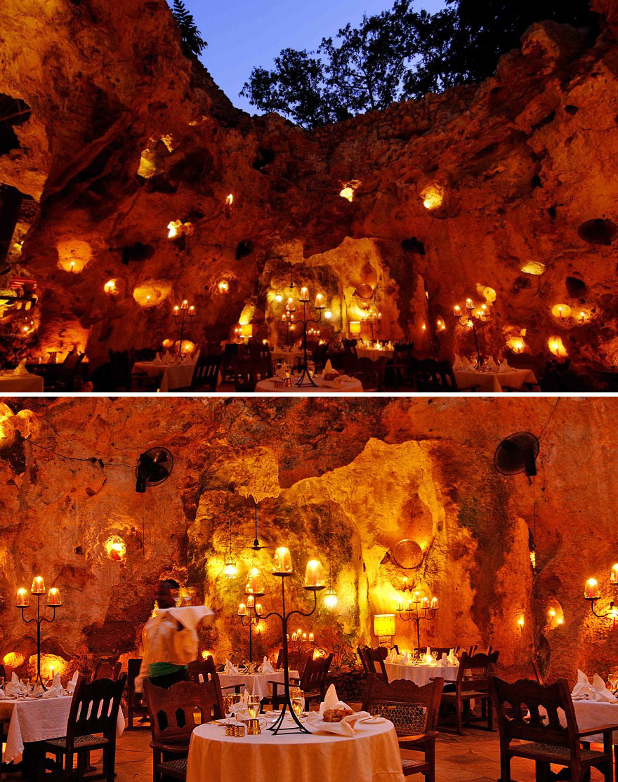 35 Of The World's Most Amazing Restaurants To Eat In Before You Die - Ali Barbour's Cave Restaurant In Kenya Set In An Ancient Cave And Illuminated Entirely By Candlelight