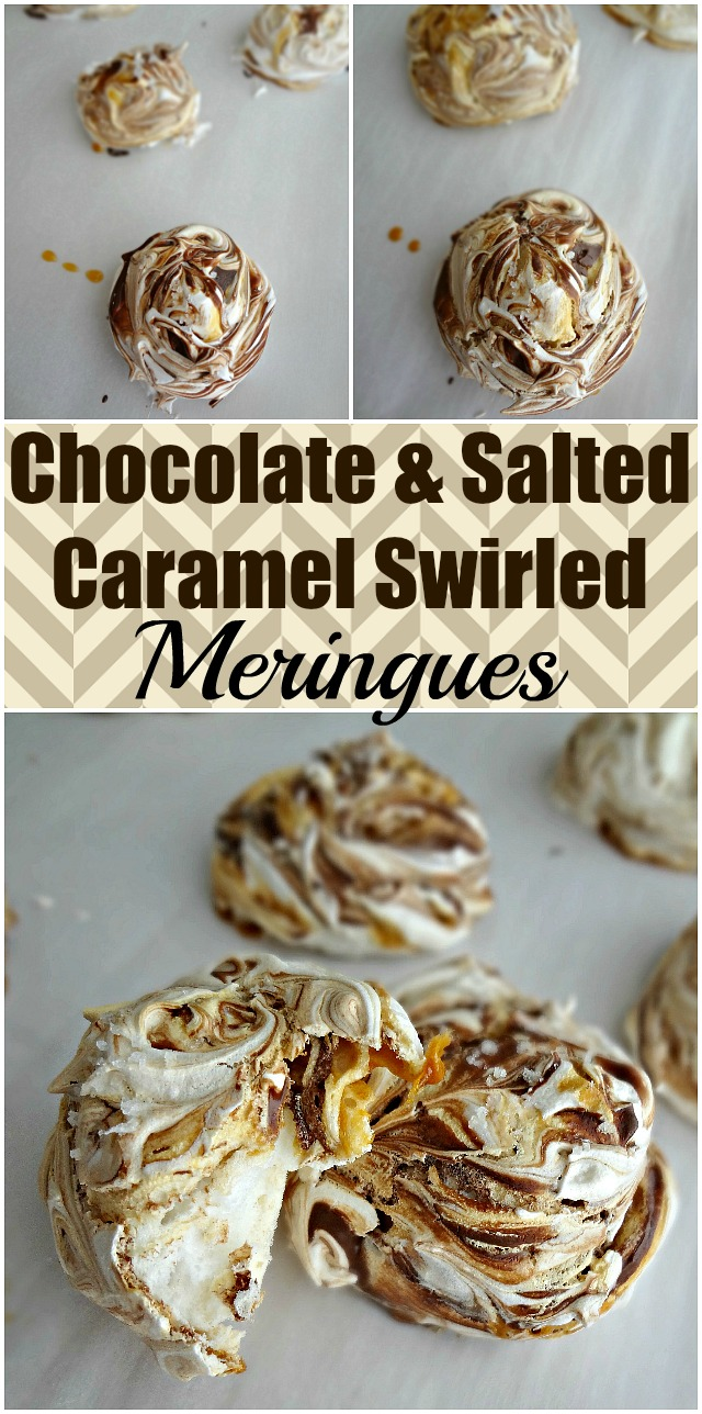 Chocolate & Salted Caramel Swirled Meringues