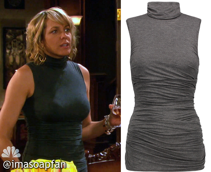 Nicole Walker's Grey Ruched Turtleneck Top - Days of Our Lives, Season 51, Episode 08/04/16, Arianne Zucker