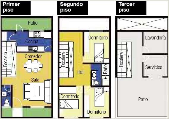 Dise o de casa habitaci n en terreno de 5 x 10 metros - Cuanto cuesta pintar un piso de 90m2 ...