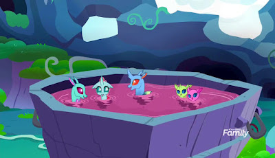 Five changelings swimming in a huge vat of purple punch