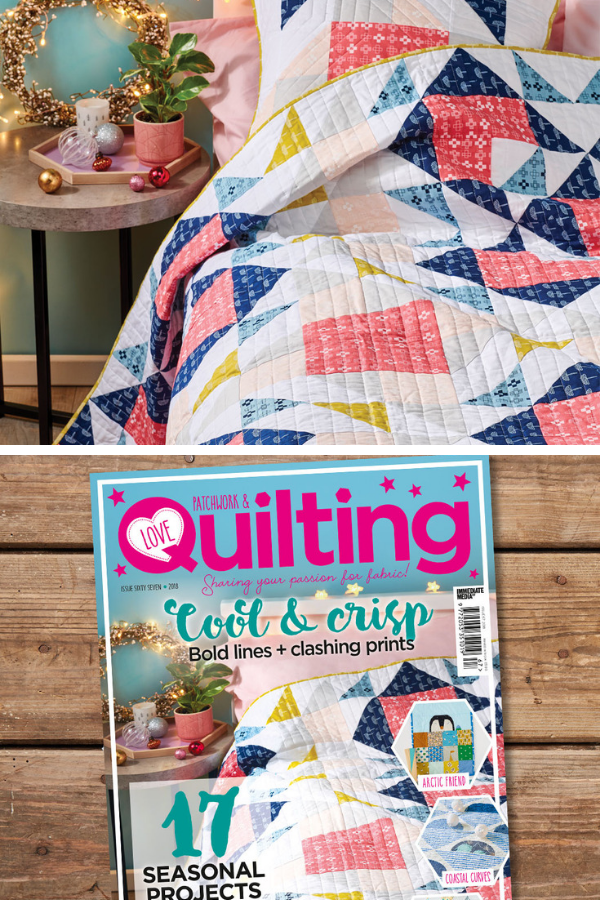 Double Windmill quilt and pillow by Shannon Fraser Designs featured in Love Patchwork and Quilting Magazine Issue 61