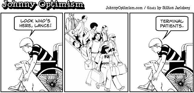 johnny optimism, medical, humor, sick, jokes, boy, wheelchair, doctors, hospital, stilton jarlsberg, terminal, airport