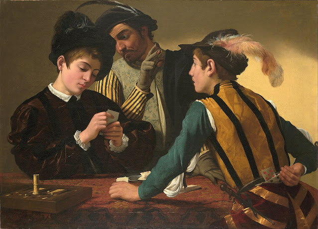 Painting of men cheating at cards