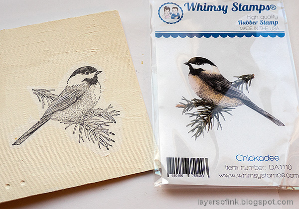 Layers of ink - Chickadee Wrapped Journal Tutorial by Anna-Karin Evaldsson. Mirror stamping.