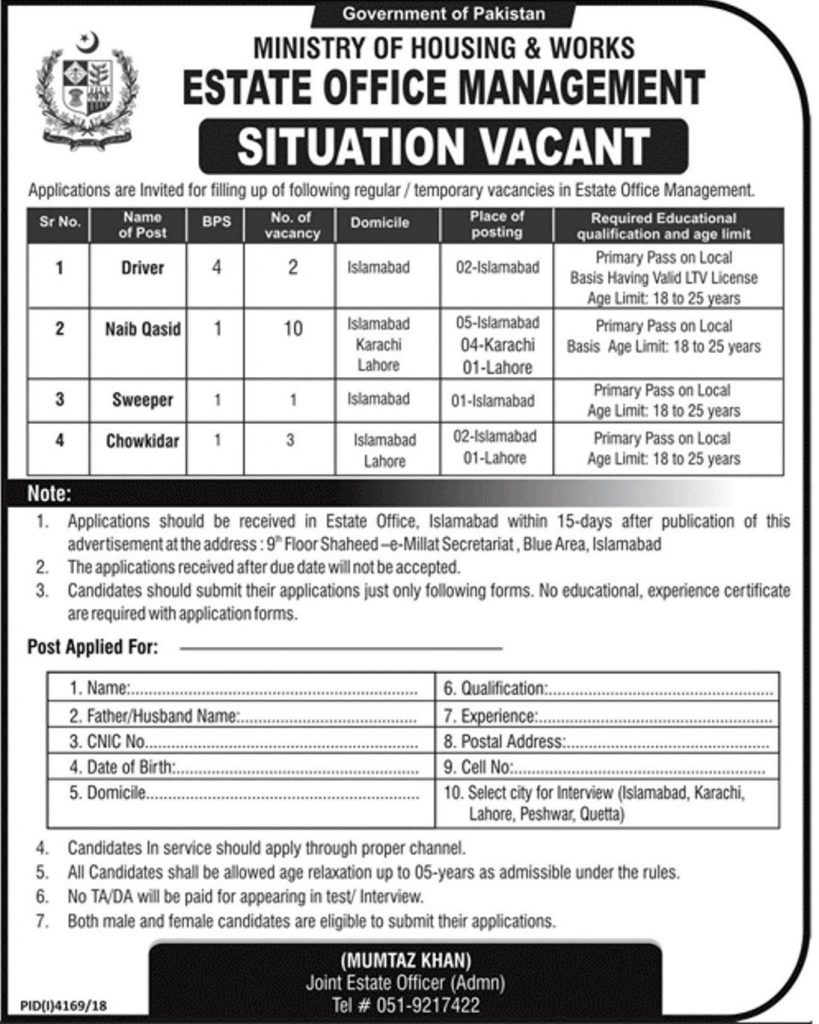 Ministry of Housing and Works Pakistan Jobs 2019