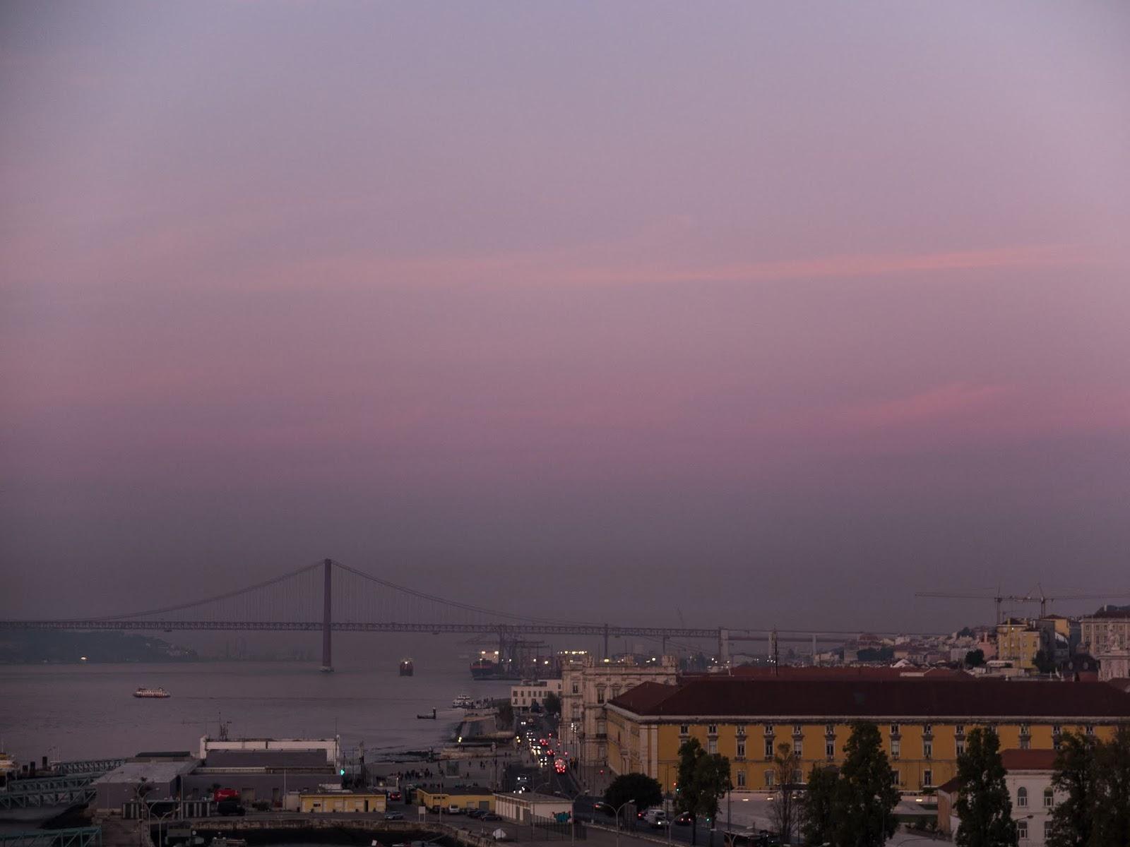 25 de Abril bridge in Lisbon at sunrise.