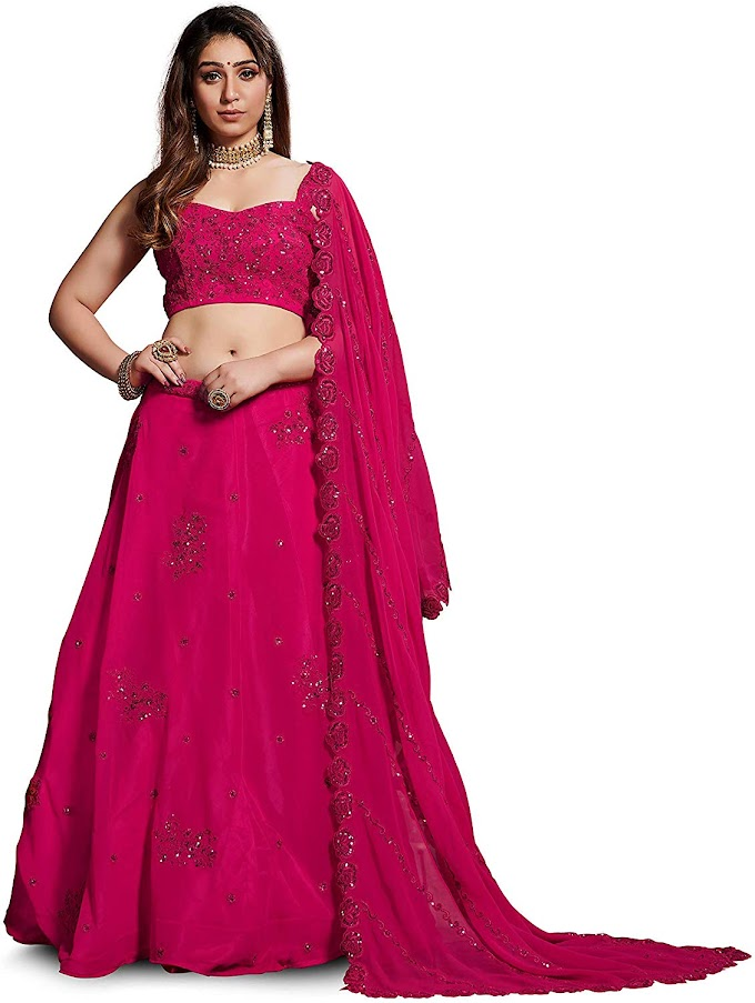 Zeel Clothing Women's Heavy Georgette Semi Stitched Pink Colour Lehenga Choli With Blouse (7060 Pink,Free Size)