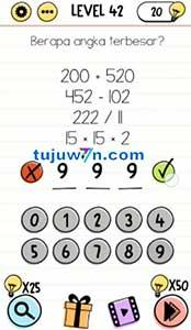 Level 42 berapa angka terbesar? brain test