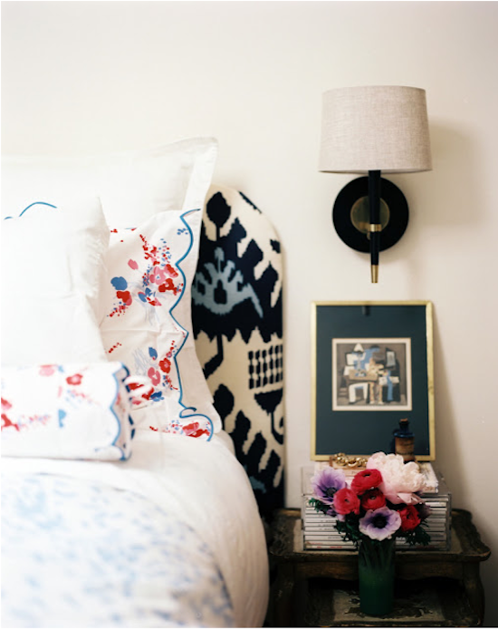 bed-side vignette, bedroom vignette, fabric headboard, nightstand styling