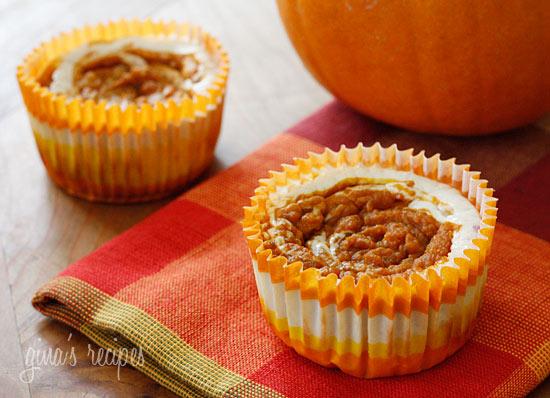 Skinnytaste Pumpkin Swirl Cheesecake Yogurt Cupcakes