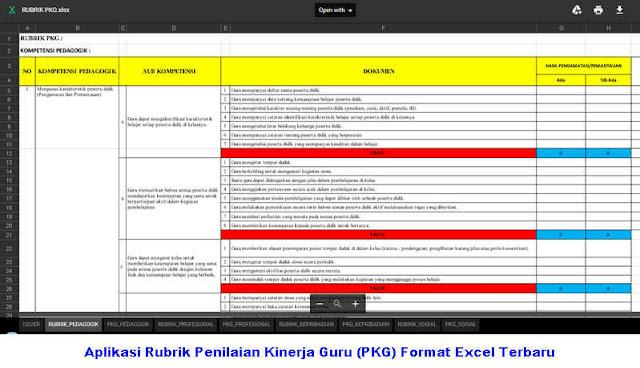 Download Aplikasi Rubrik Penilaian Kinerja Guru (PKG) Format Excel Terbaru
