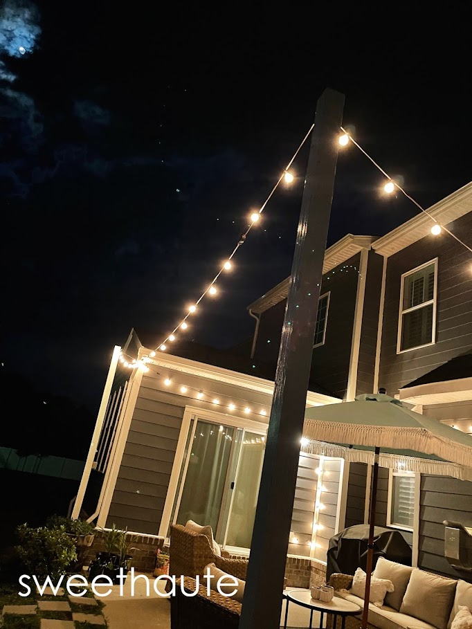 DIY String Lights Post Panters Outdoor