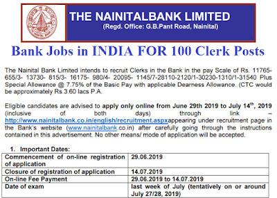 Nainital Bank Clerk Recruitment 2019