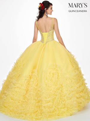 New v-neck Ball Gown Mary's Quinceanera Design Yellow Color Dress back side