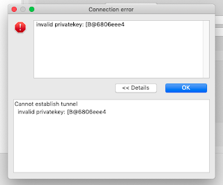 Invalid privatekey error in DBeaver