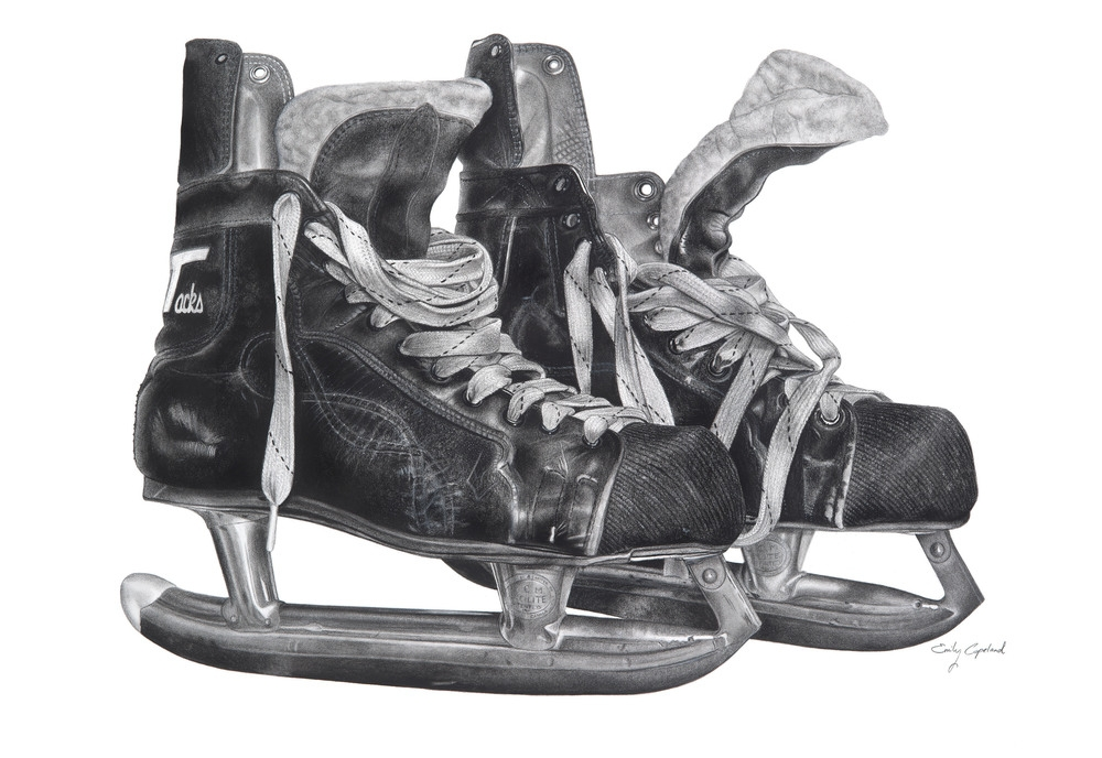 06-Ice-Skates-Emily-Copeland-Vintage-and-Retro-Objects-in-Photo-Realistic-Drawings-www-designstack-co