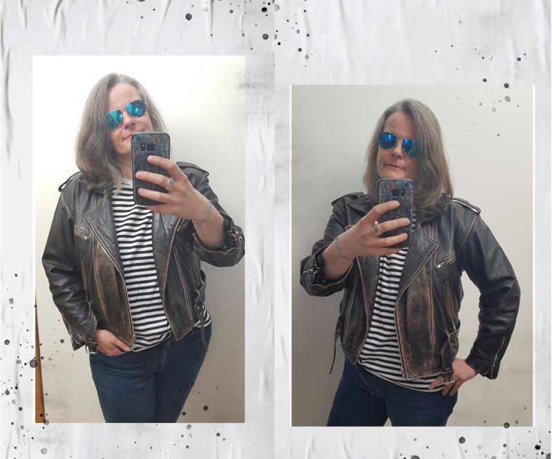 Vintage-Lederjacke, Jeansstyling und Ringelshirt