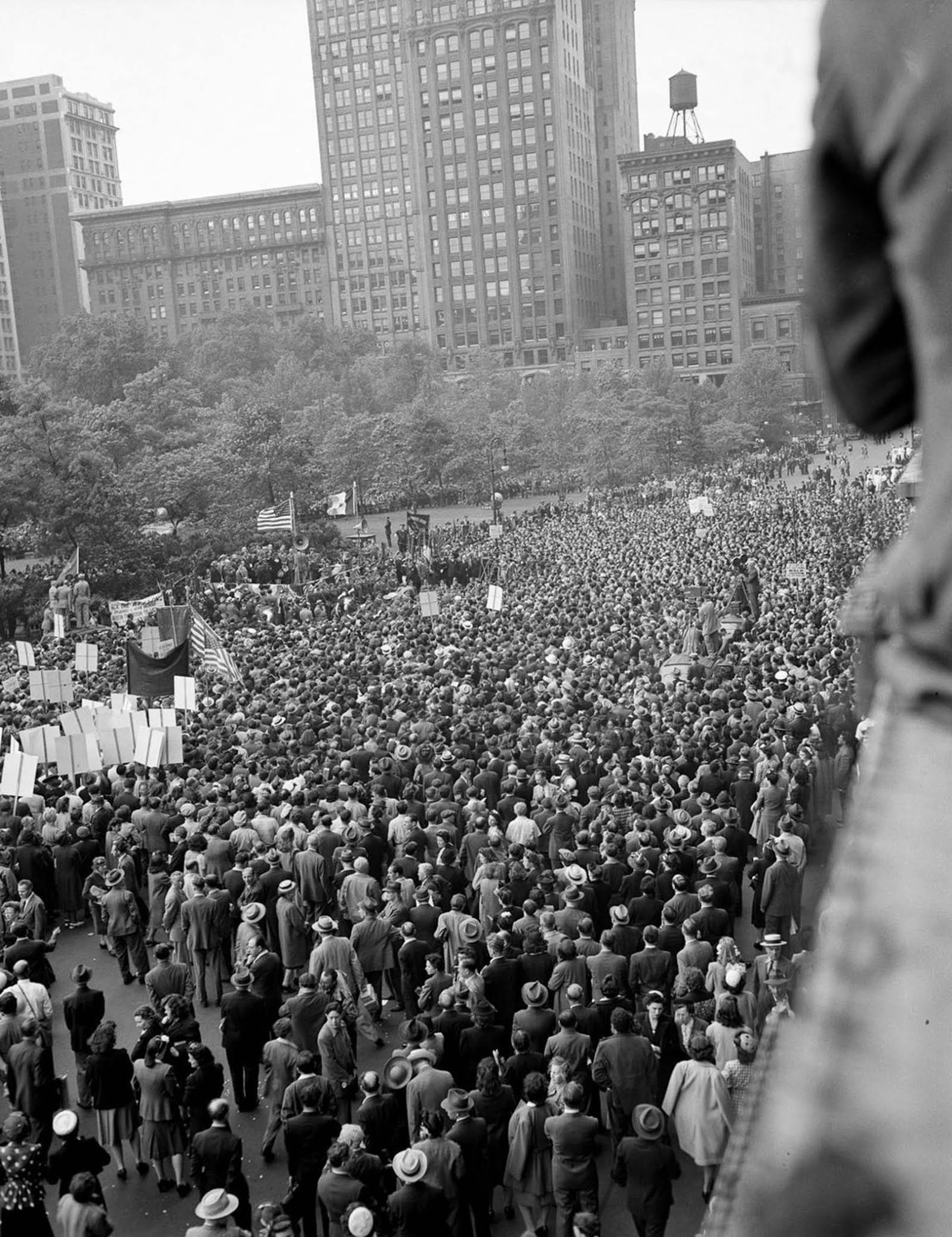 Thousands gather in Madison Square for a rally led by Mayor Fiorello La Guardia.