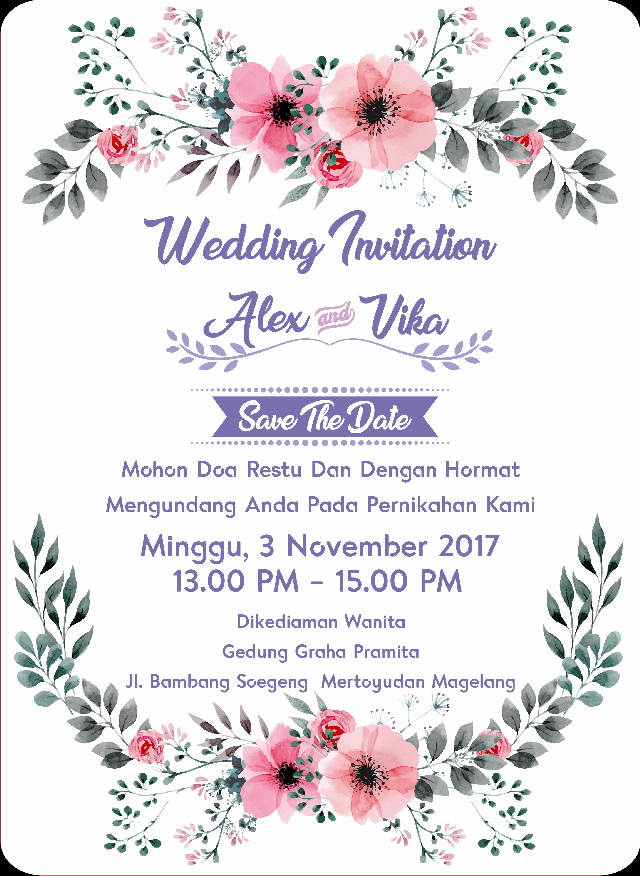 Undangan Pernikahan Wedding Invitation Kode Uno 03 Bati Offset