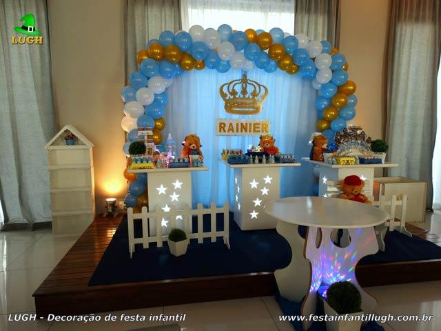 Decoração do Rei Ursinho para festa de Chá de Bebê - Chá de Fraldas