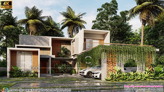 4 BHK minimalist flat roof style house plan
