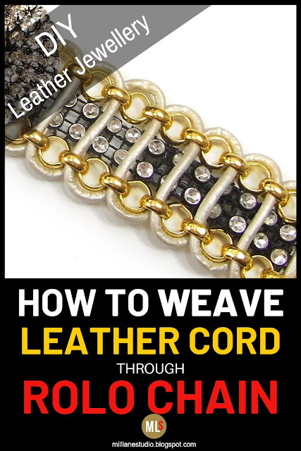 How to weave leather cord through rolo chain inspiration sheet