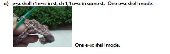 How to work an e-sc shell stitch