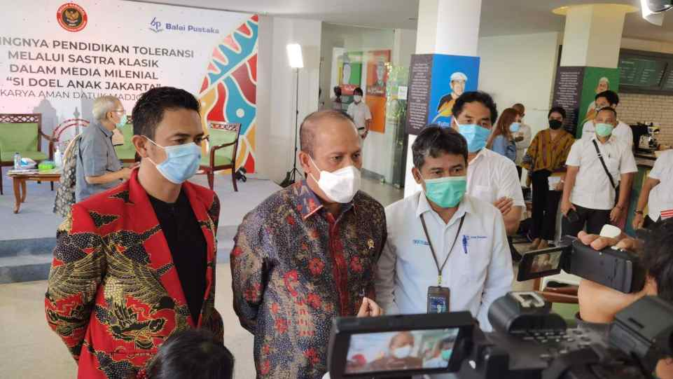 Kepala BNPT Komjen Boy Rafli Amar saat Konferensi Pers webseries Si Doel Anak Jakarta, pada Senin 22 Februari 2021 di Gedung Balai Pustaka, Jakarta. (Dok. Istimewa)