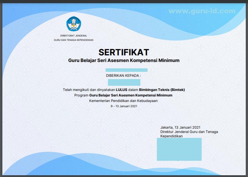 gambar sertifikat guru belajar seri akm lembar depan