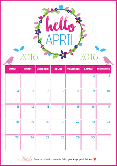calendrier DIY avril 2016 Printemps