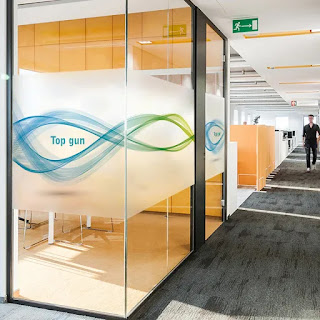 A Glass Partition With Logo