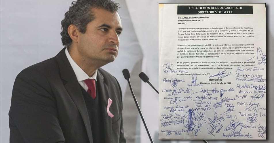 'Fuera Ochoa Reza de galería de directores de la CFE': Exigen trabajdores.