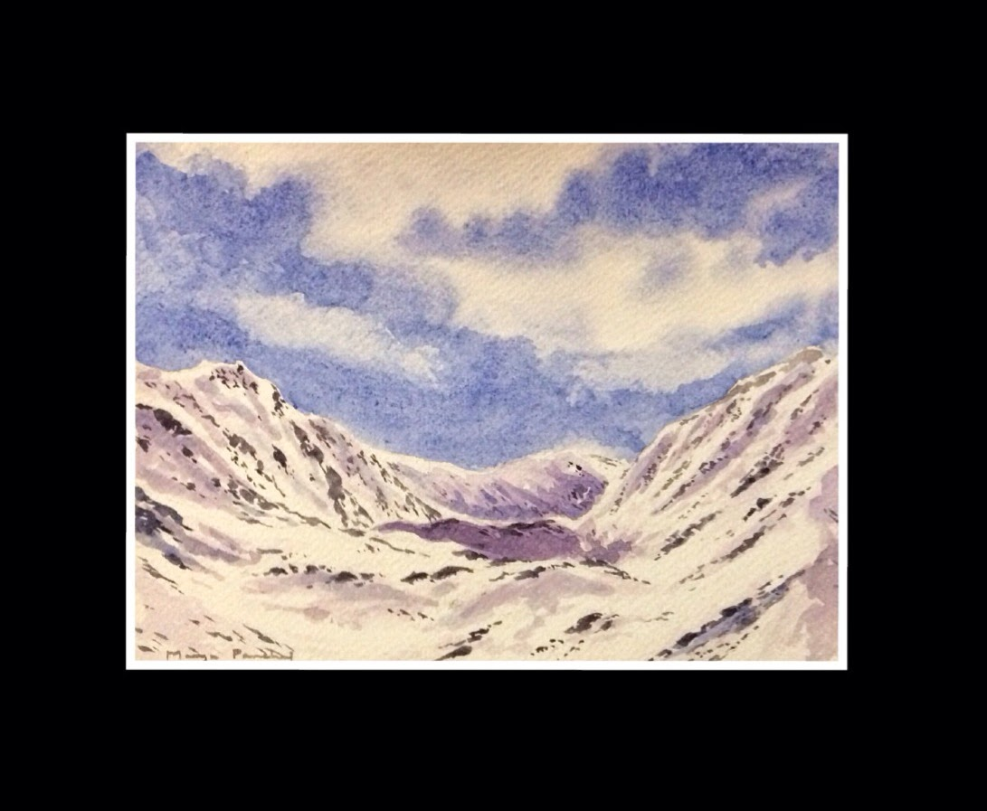 water colour painting of KUNZUM PASS on fabriano cold pressed paper by Manju Panchal