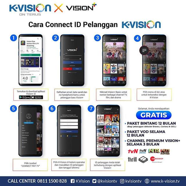Cara Mendapatkan Gratis 1 Bulan, 3 Bulan, 12 Bulan Langganan K-Vision Premium Bagi Pelanggan Receiver Bromo, Cartenz, dan GOL Hanya Connect ke Vision+