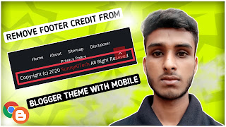 How to remove footer credit blogger theme with mobile