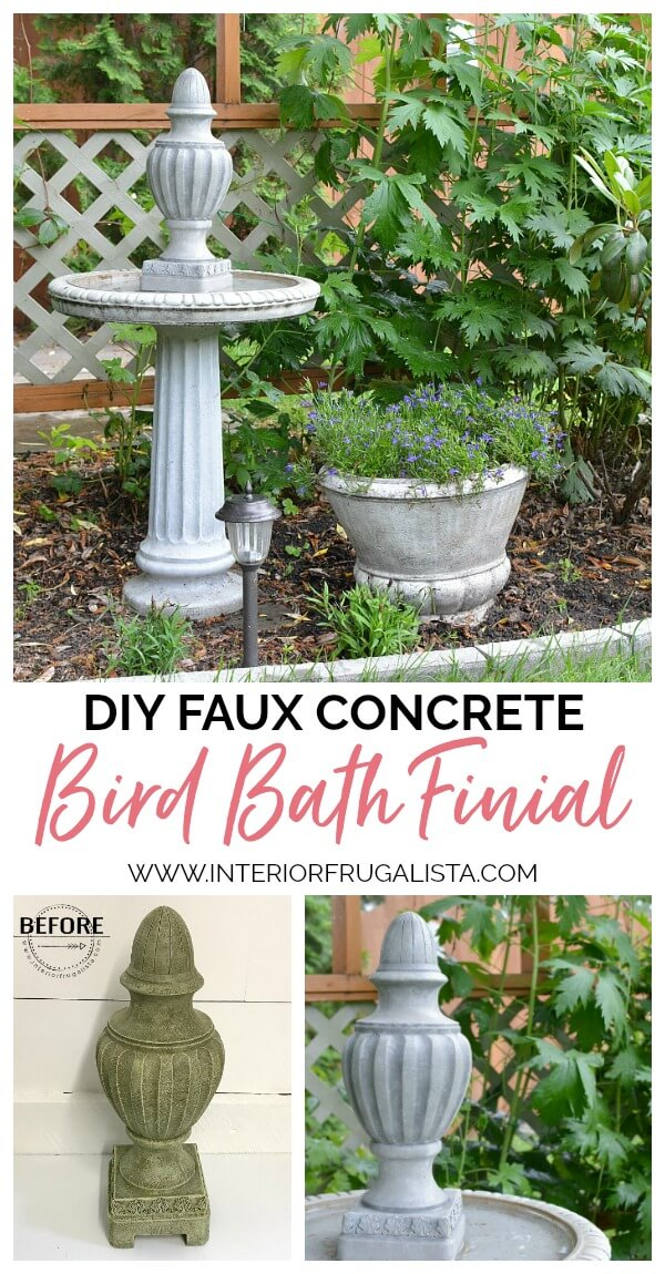 A DIY Faux Concrete Bird Bath Topper and how to make the resin finial look just like the real concrete bird bath it's mounted on with layers of paint. #birdbathideas #birdbathdiy #fauxconcrete #gardenfinial