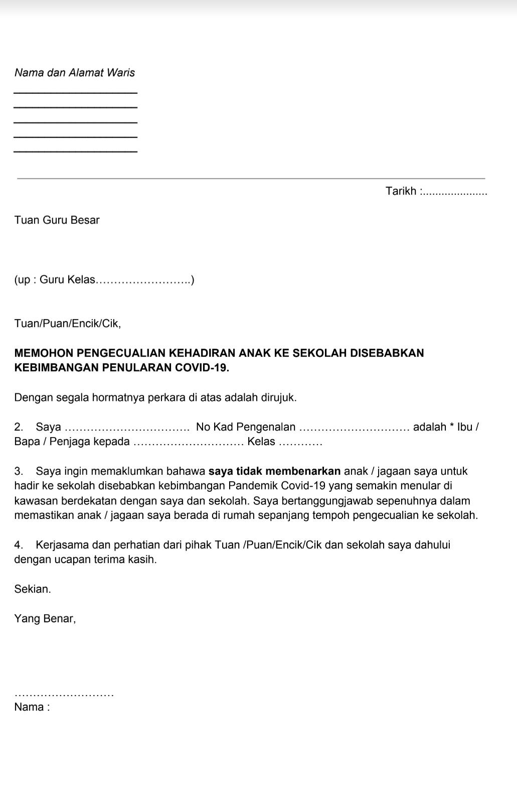 Contoh surat tidak hadir ke sekolah disebabkan kebimbangan Pandemik Covid-19