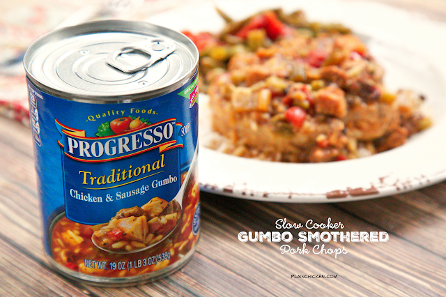 Slow Cooker Gumbo Smothered Pork Chops - pork chops seasoned with cajun seasoning and slow cooked in Progresso™ Chicken and Sausage Gumbo. SO easy and super delicious!  This was a huge hit in our house!
