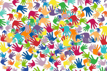Picture of many different-colored hand prints