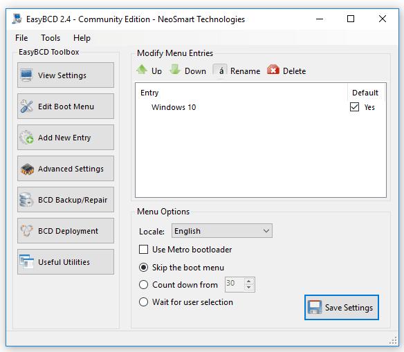 Pengaturan Boot EasyBCD
