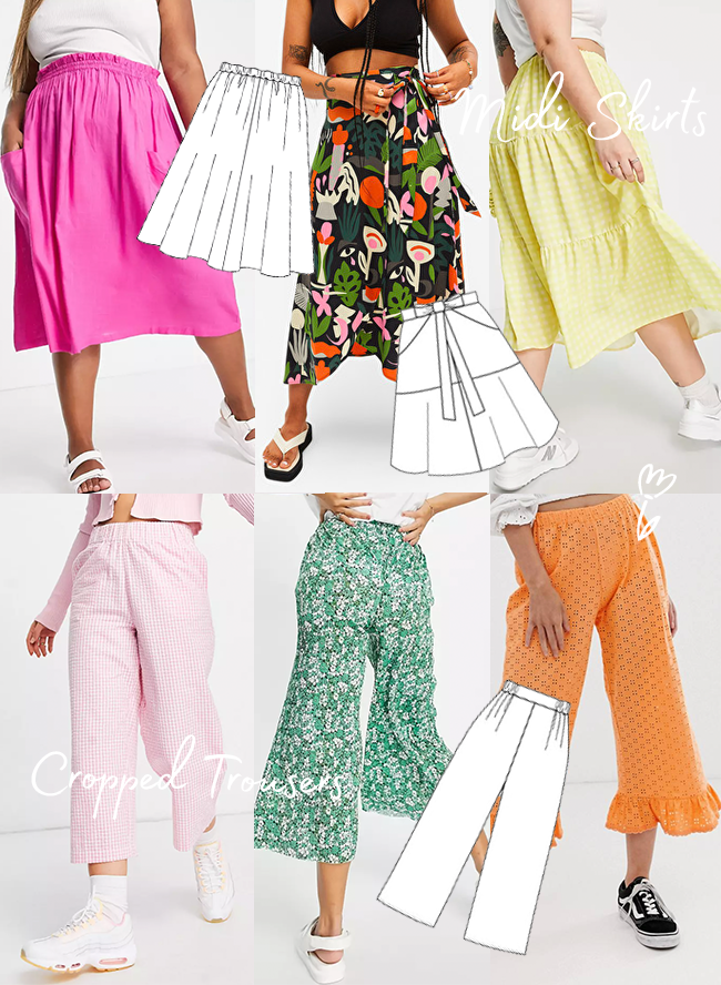 Sewing For The Season - Summer! Midi Skirts & Cropped Trousers