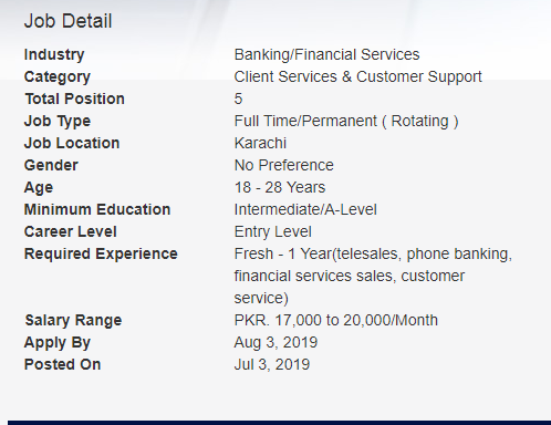 Faysal Bank – Tele Sales Officer – Outbound Call Center
