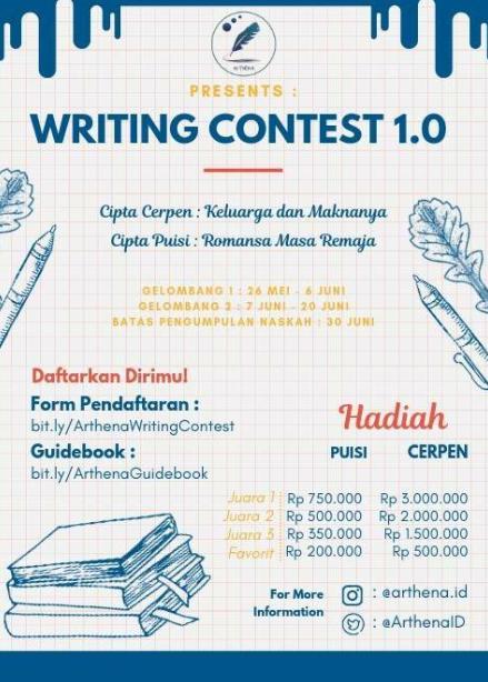 Lomba Menulis Cerpen dan Puisi Nasional 2019 [Arthena Writing Contest 1.0]