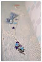 sautoir nœud montgolfière d'hiver bleu violet
